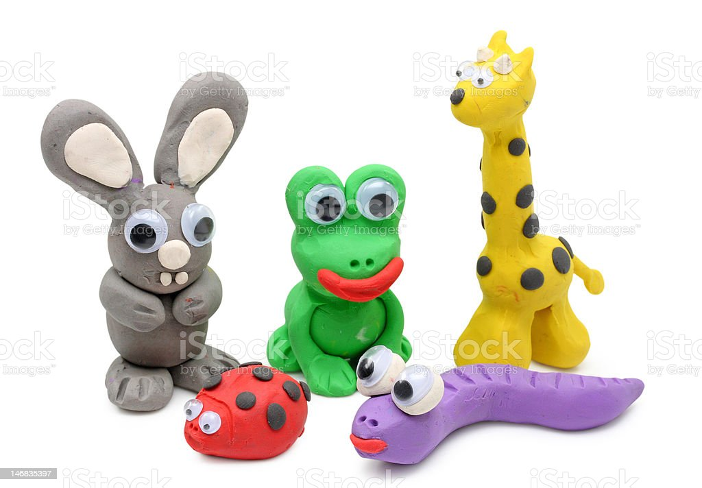animals  made from play clay stock photo