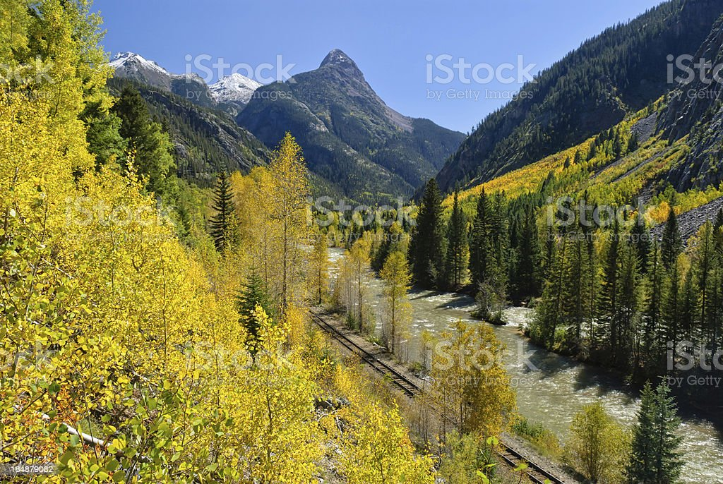 Animas River Scenic Landscape Silverton to Durango Railroad stock photo