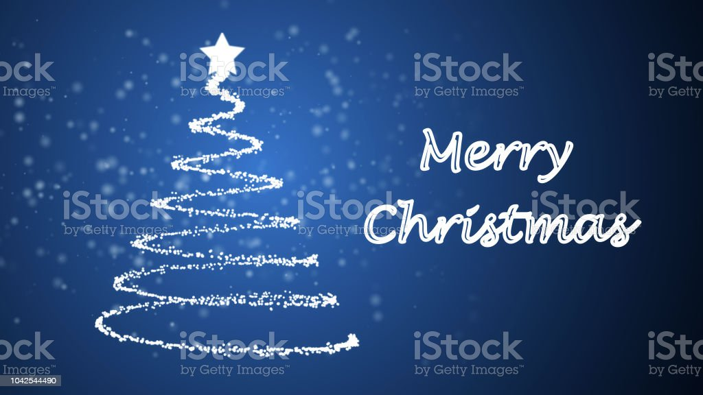 Animated Christmas Tree On Blue Snowing Background Stock