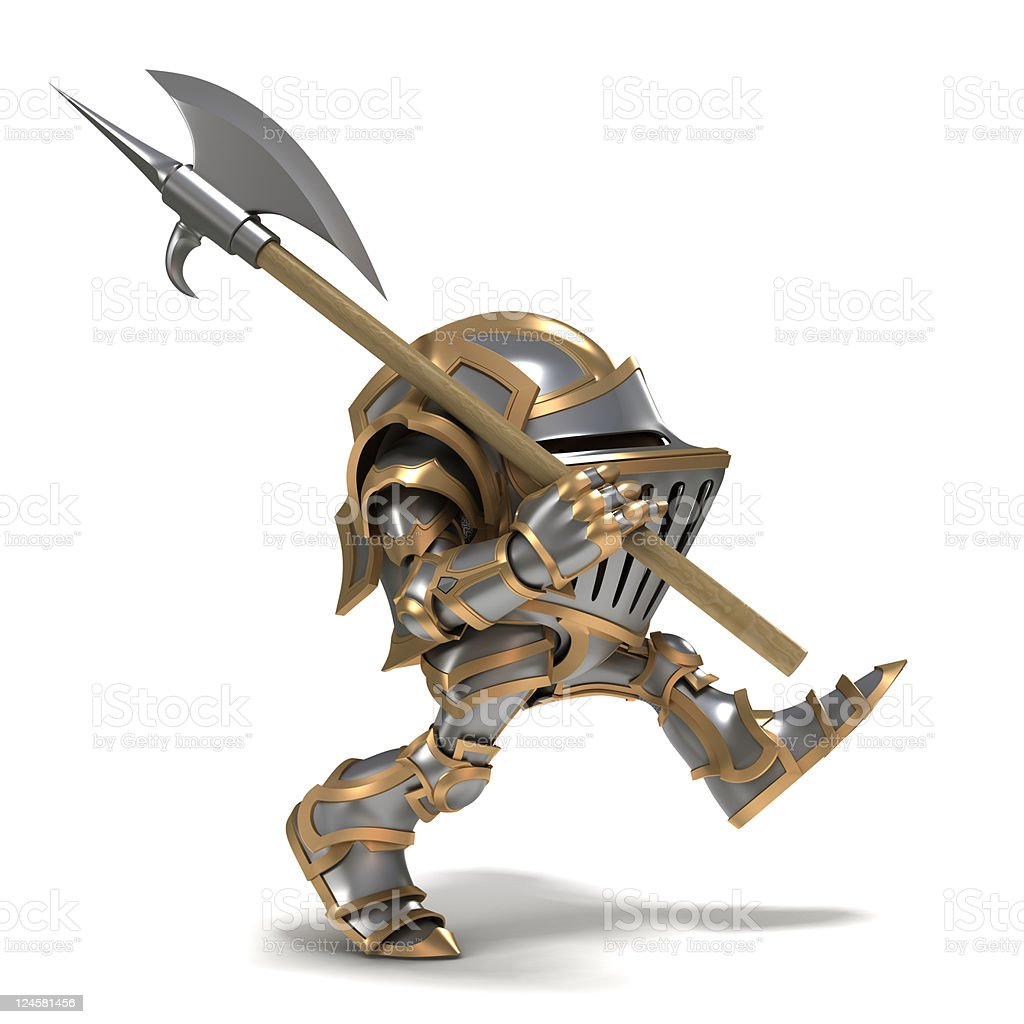 3D animated knight with battle axe on patrol royalty-free stock photo