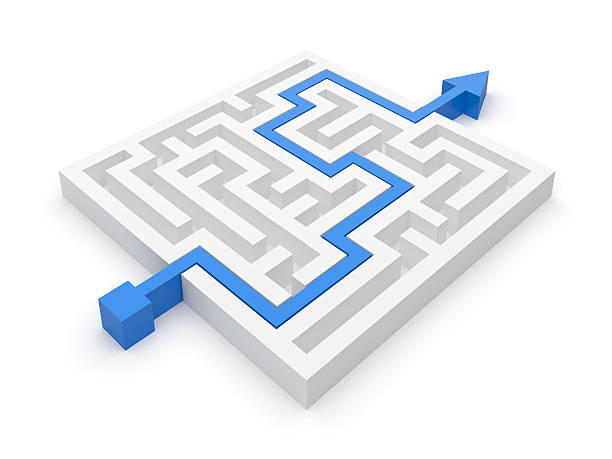 Animated maze puzzle with a blue arrow showing the solution stock photo