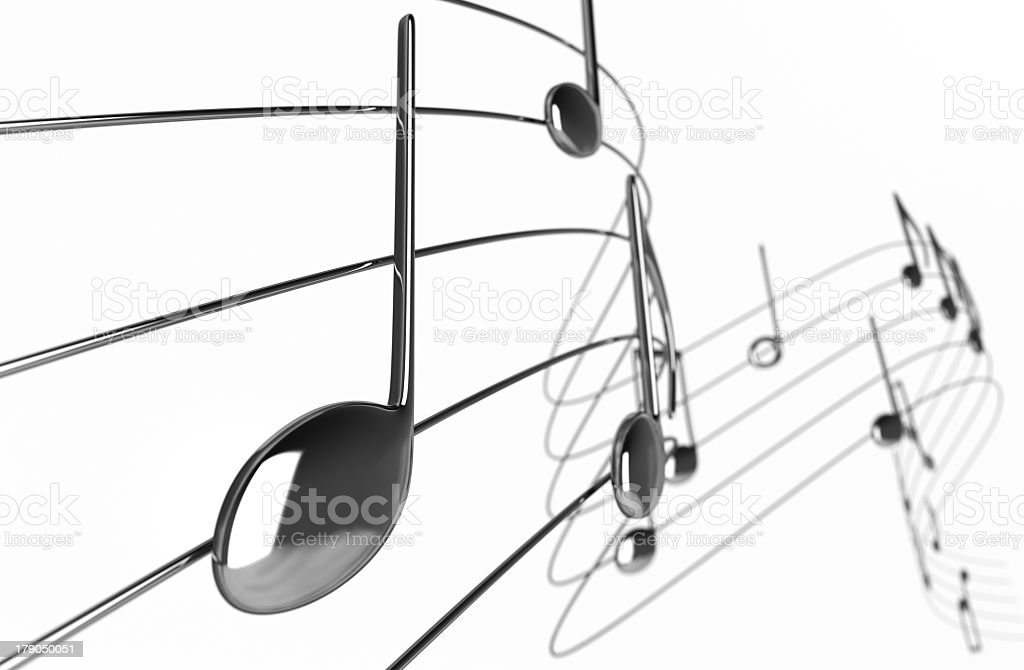Animated music notes curling away into white background royalty-free stock photo