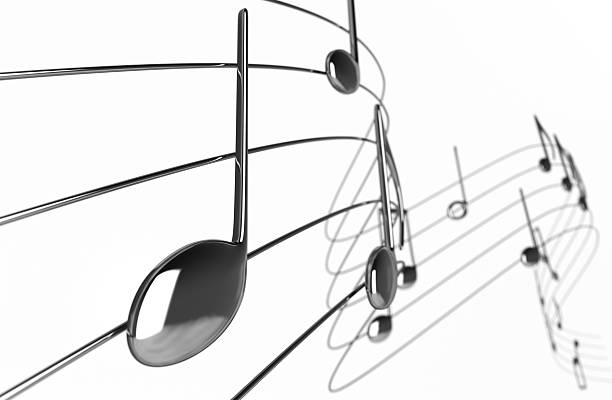 Animated music notes curling away into white background stock photo
