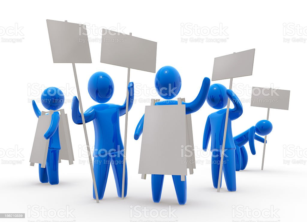 Animated people with signs holding a demonstration royalty-free stock photo