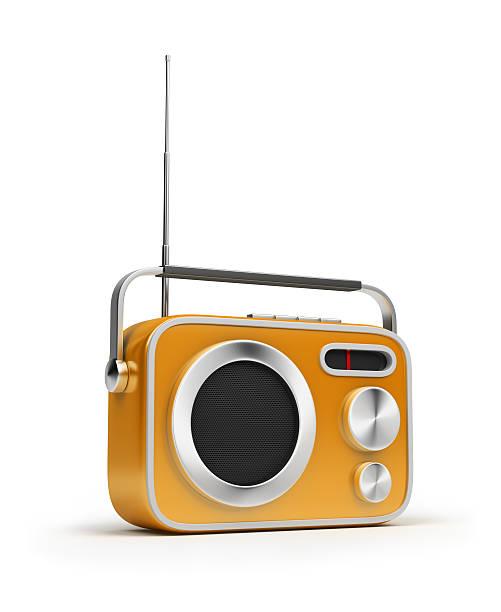 Animated photo of yellow retro radio stock photo