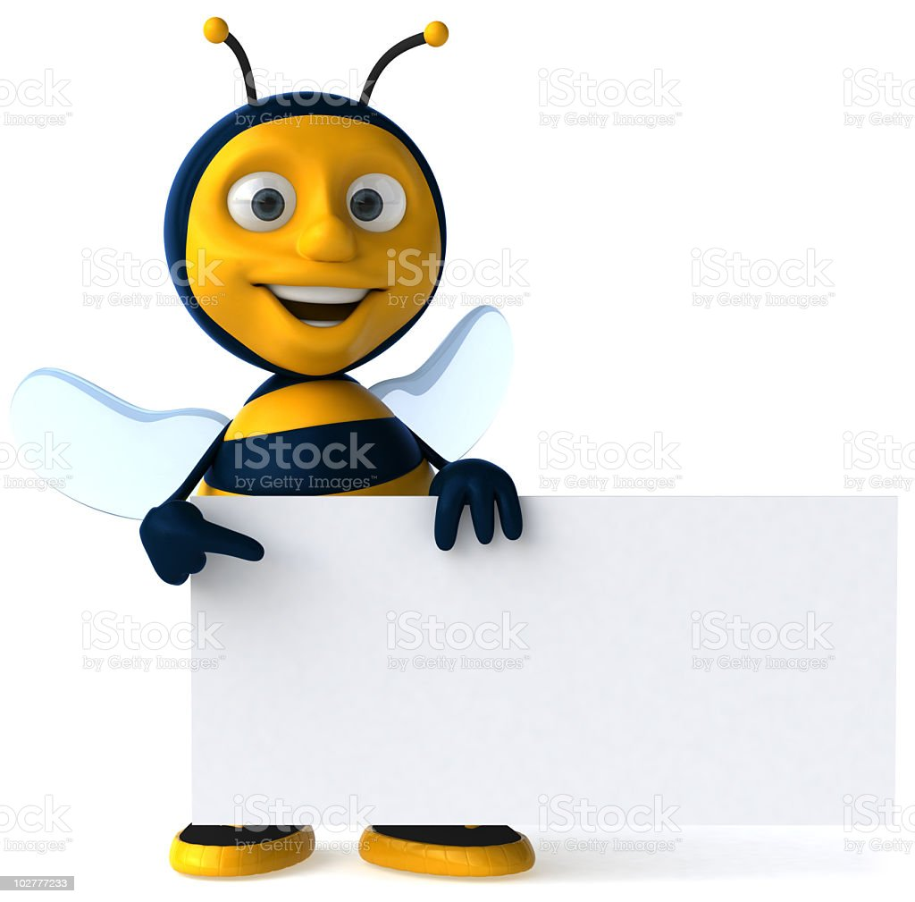 Animated smiling bee holding a blank sign stock photo