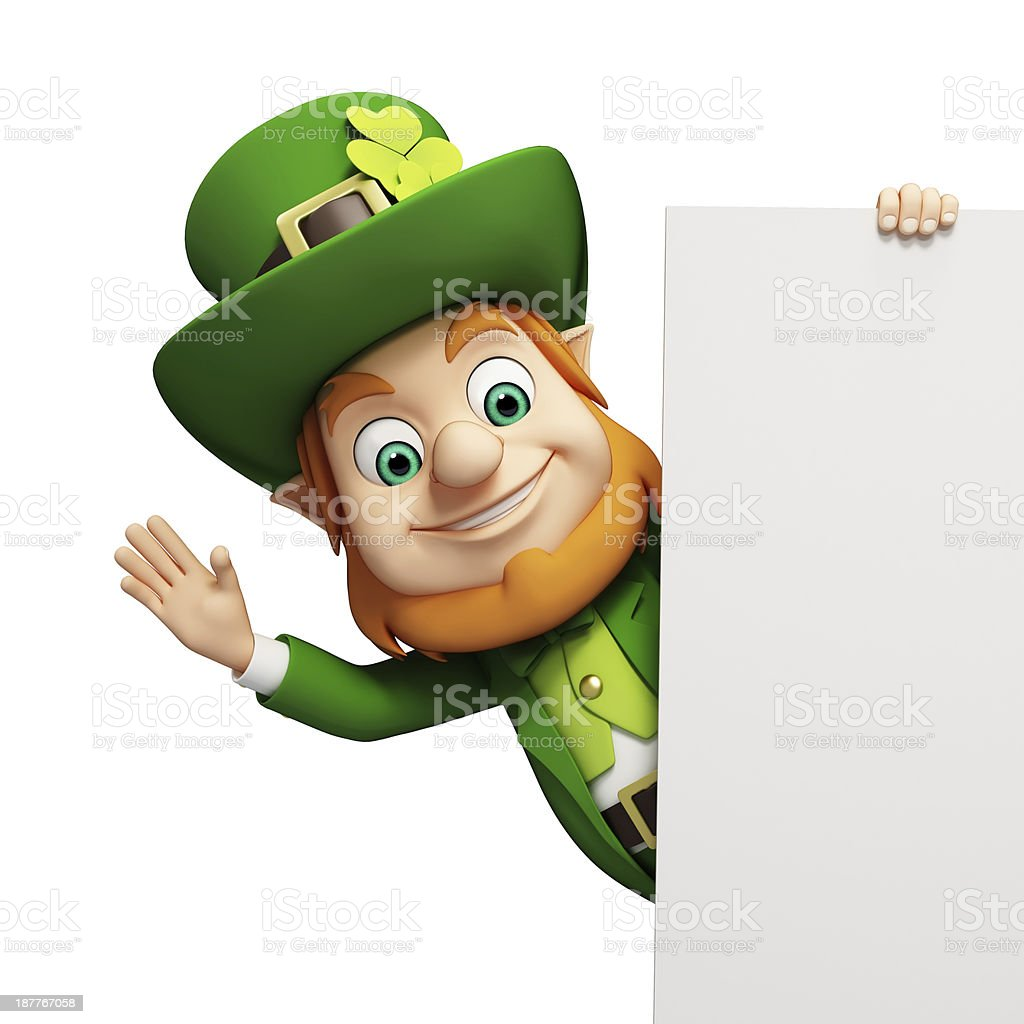 Animation of a leprechaun holding a blank white scroll stock photo