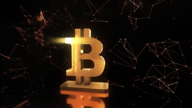 animering av abstrakt information med bitcoin symbol i digitala utrymme 3d illustration - graphs animation bildbanksfoton och bilder