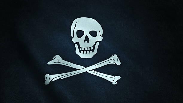 animation of pirate flag closeup - foto de stock