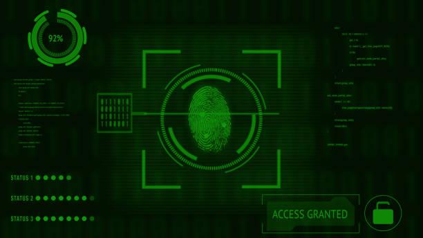 Animation von Scan- und Analyse biometrischen Daten aus dem Fingerabdruck – Foto