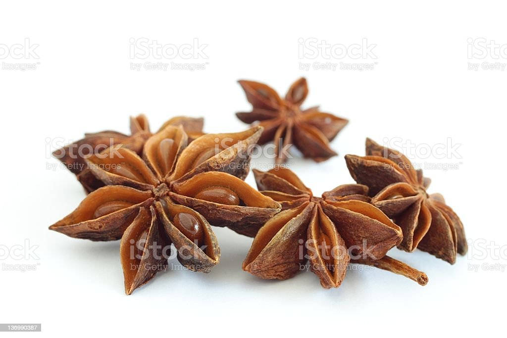 Anise stars placed on a white background stock photo