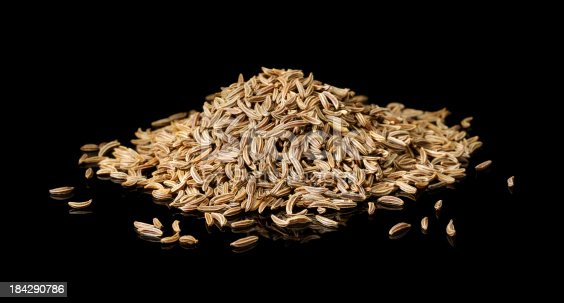 aniseed caraway fennel isolated on black