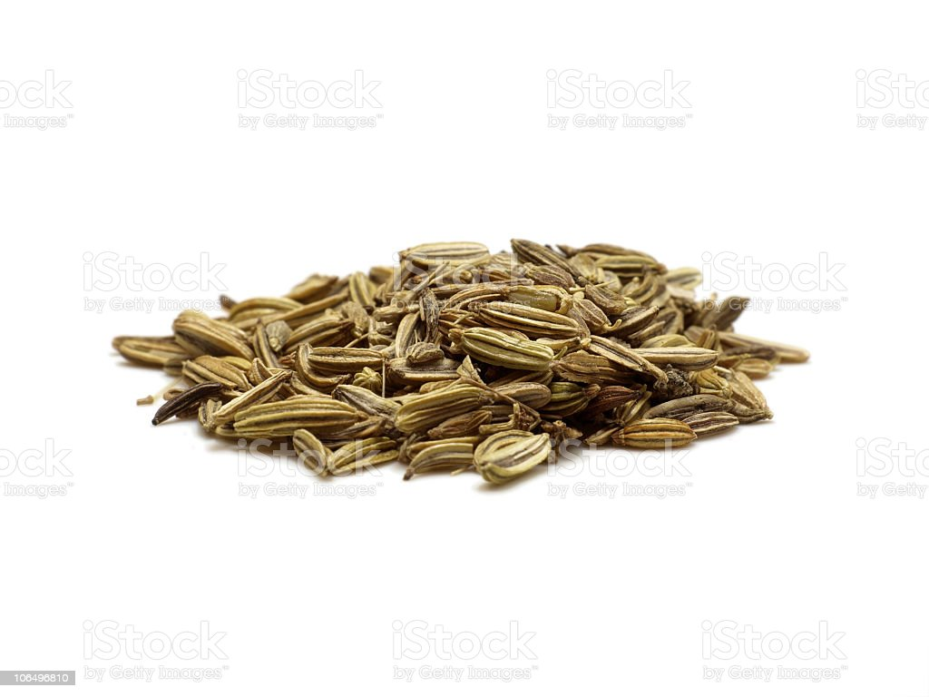 aniseed caraway  fennel isolated on white stock photo