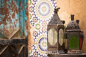 Anitique lamps and Moroccan decor in the medina