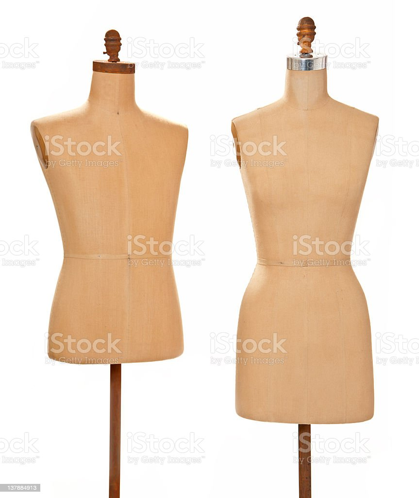 Anitque male and female model dress forms stock photo