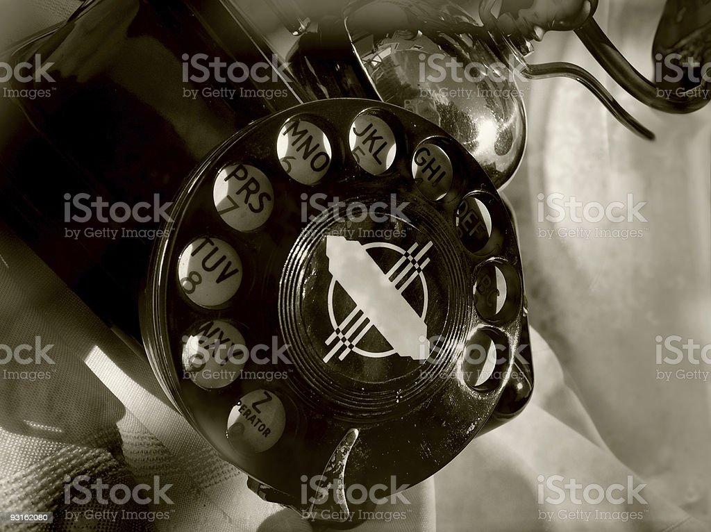 anitque rotary phone stock photo