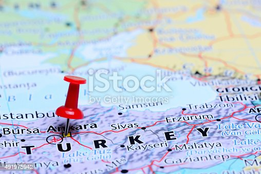 1151956281 istock photo Ankara pinned on a map of Asia 491975942