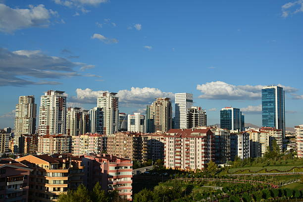 Ankara. Turkey Ankara, Turkey - September 24, 2015: Ankara, Turkey - September 24, 2015: Aerial view of Capital City of Turkey. Ankara, formerly known as Ancyra and Angora, is the capital of Turkey, located in Central Anatolia. With a population of 5,150,072 in its province (2015), Behind Istanbul, Ankara is the second largest city of Turkey's. gated community stock pictures, royalty-free photos & images