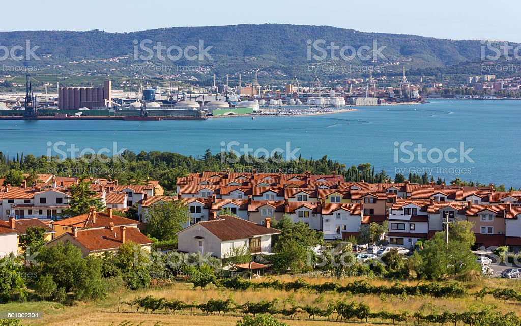 Ankaran and the Koper Seaport in the Background stock photo