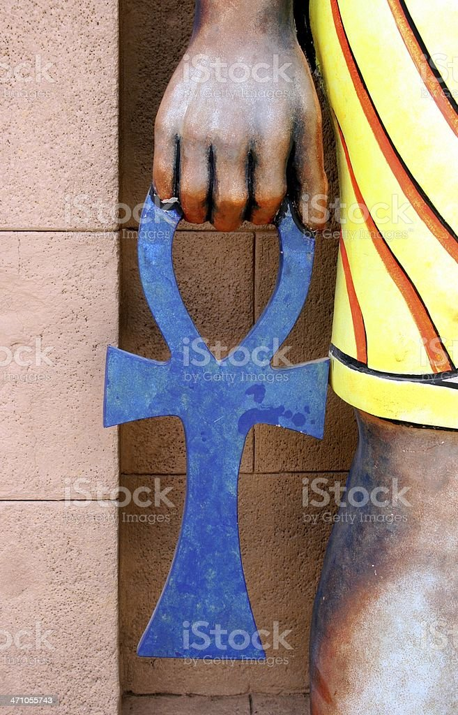 ankh in hand of the pharaoh royalty-free stock photo