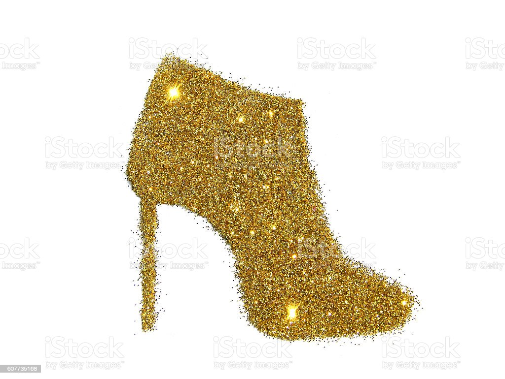 Ankle boot on high heel of golden glitter - foto de stock