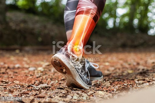 istock Ankle pain in detail - Sports injuries concept 1137571321