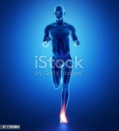 istock ANkle - running man leg scan in blue 611783964