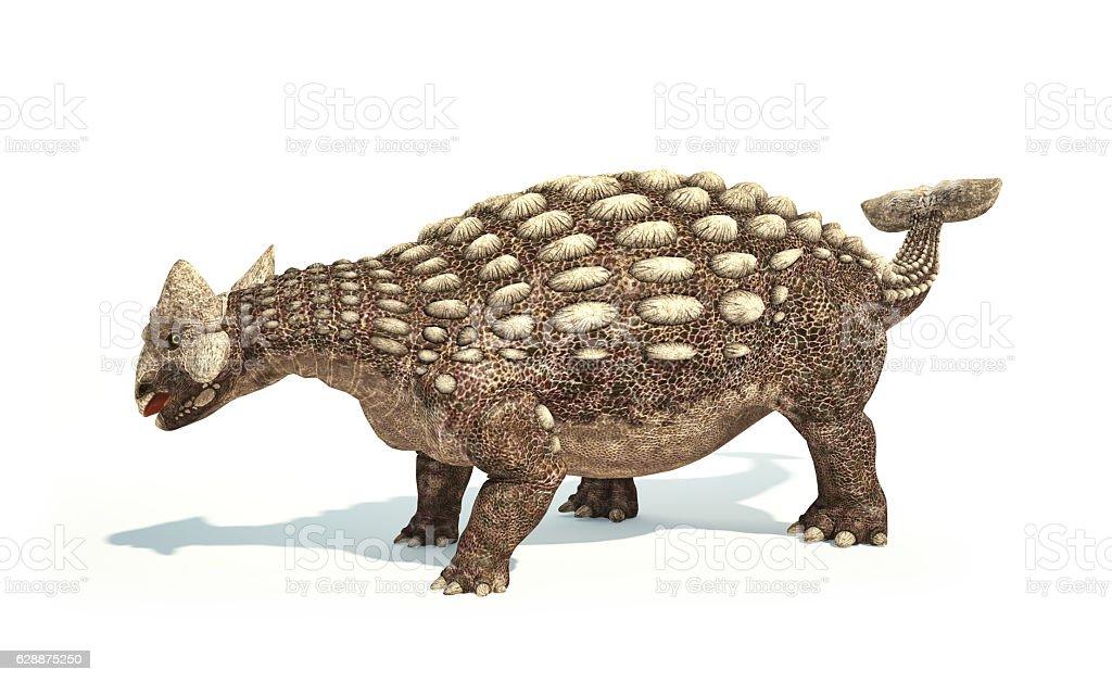 Ankylosaurus Dinosaur photorealistic representation. Dynamic posture. - foto de acervo