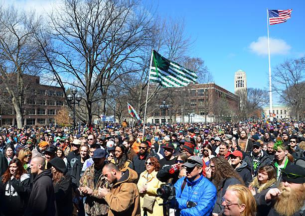 Ann Arbor Hash Bash 2014 crowd stock photo