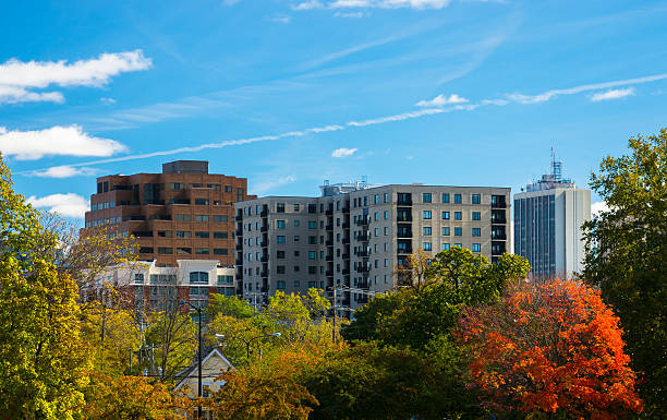 Ann Arbor skyline Skyline view of Downtown Ann Arbor, Michigan during Autumn. ann arbor stock pictures, royalty-free photos & images