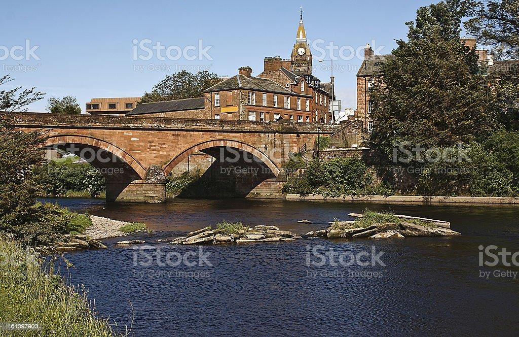 Annan Bridge and Town Hall stock photo