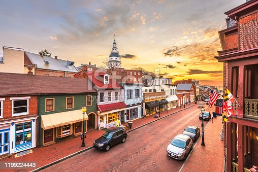 istock Annapolis, Maryland, USA downtown view over Main Street with the State House 1199224443