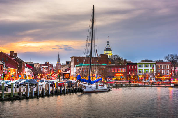 Annapolis, Maryland, USA from Annapolis Harbor stock photo