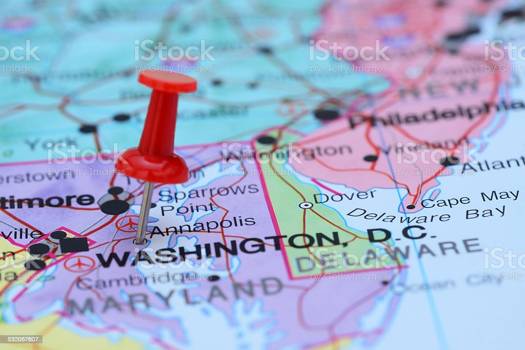 Annapolis pinned on a map of USA stock photo