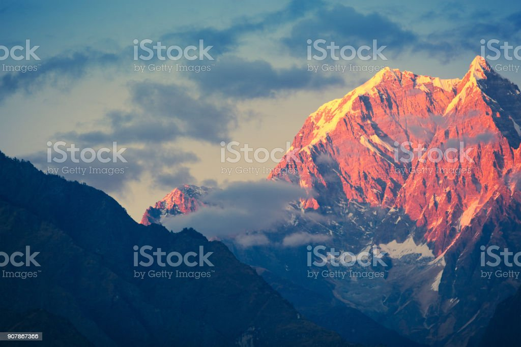 Annapurna mountain range at sunset stock photo