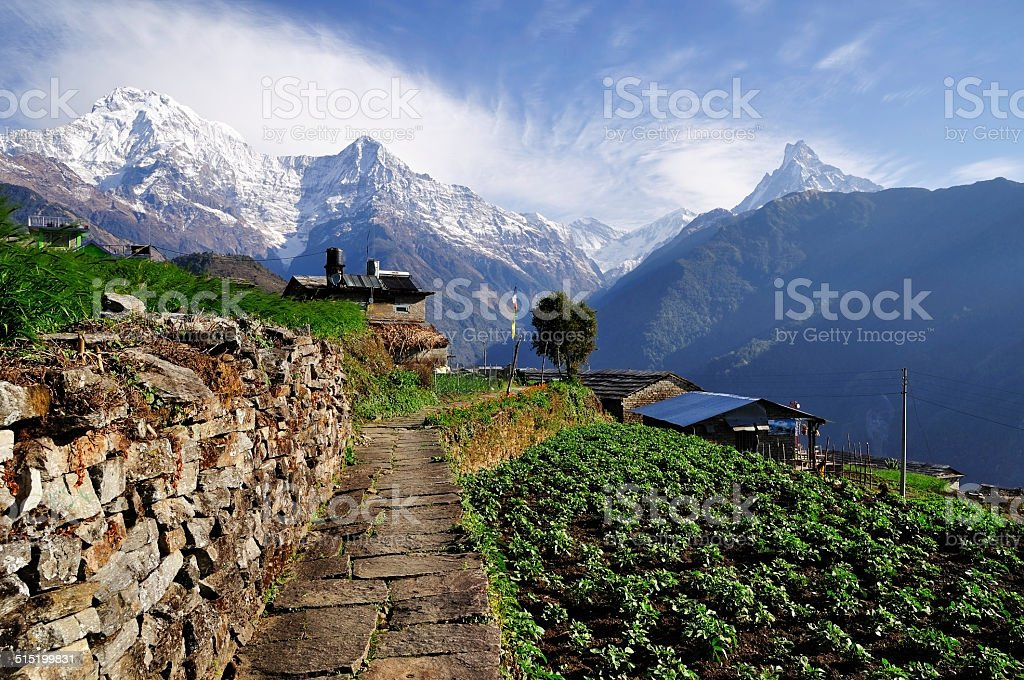 Annapurna mountain View from Ghnadruk Village Nepal stock photo