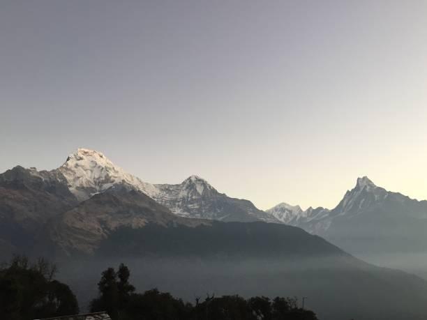 Annapurna Mountains just before sunrise stock photo