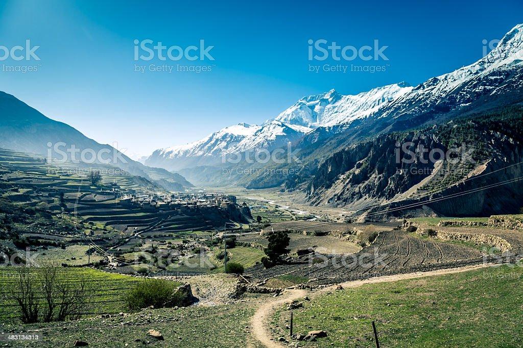 Annapurna Sanctuary Foot Trails and Landscape, Himalaya, Nepal stock photo
