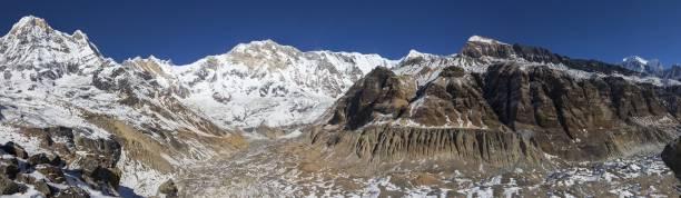 Annapurna Sanctuary Panoramic View, Nepal Himalaya Mountains stock photo