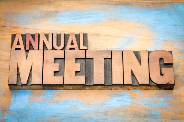 annaul meeting word abstract in letterpress wood type stock photo