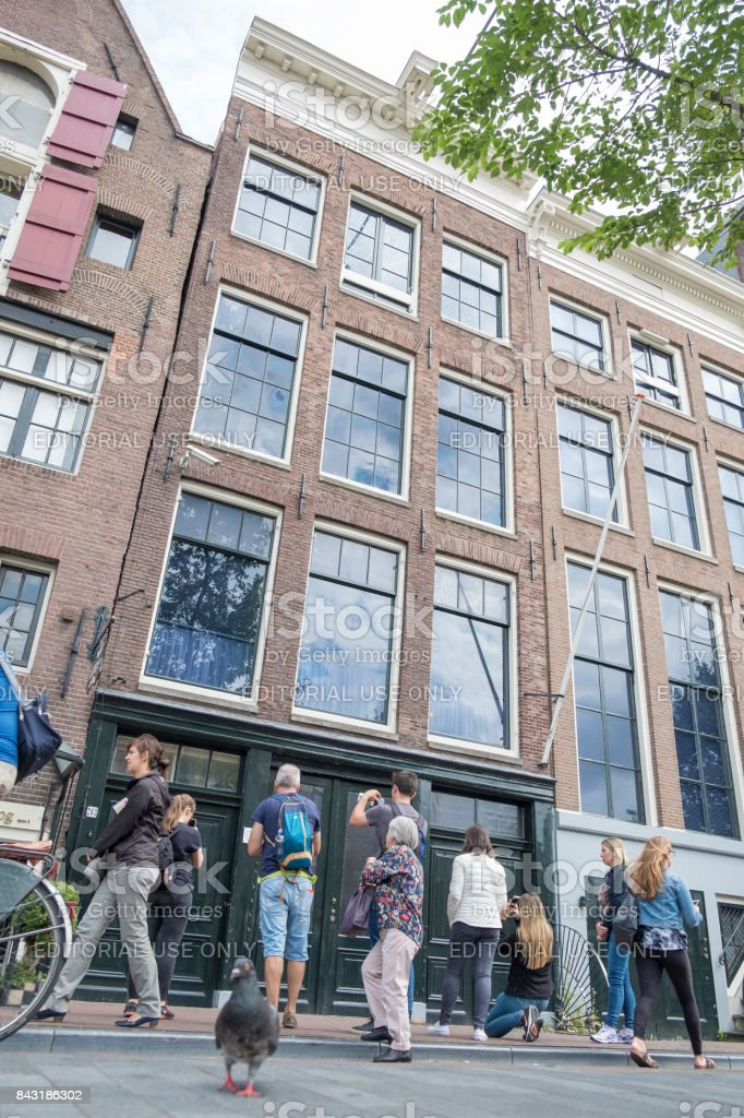 Anne Frank House and Museum in Amsterdam with tourists stock photo