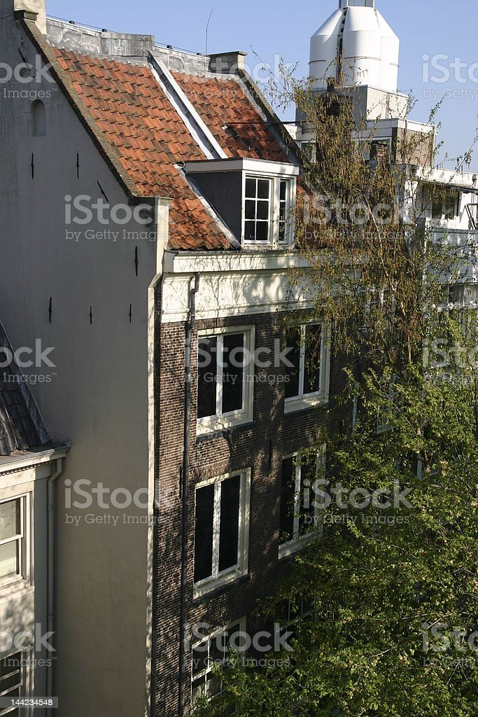 Anne Frank House and tree stock photo