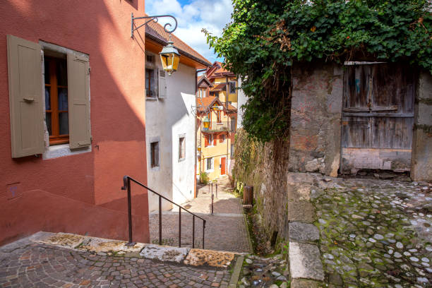 Annecy Old stone houses in the historic part of the city. stock photo