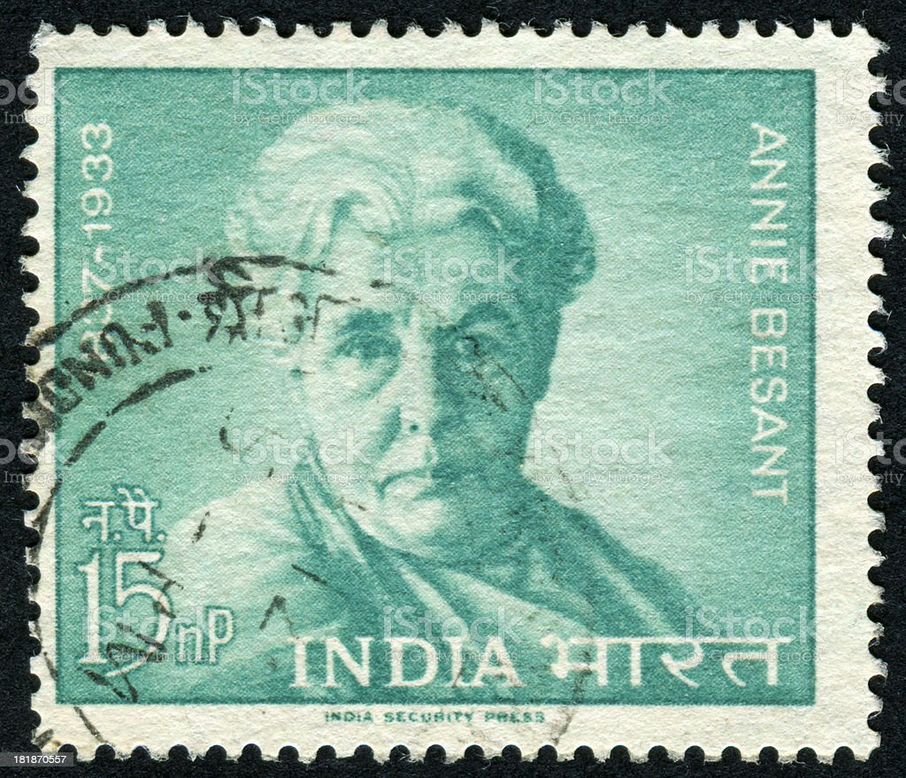 Annie Besant Stamp royalty-free stock photo