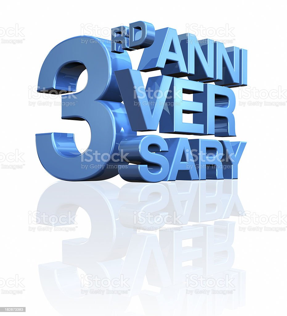 Anniversary 3rd royalty-free stock photo