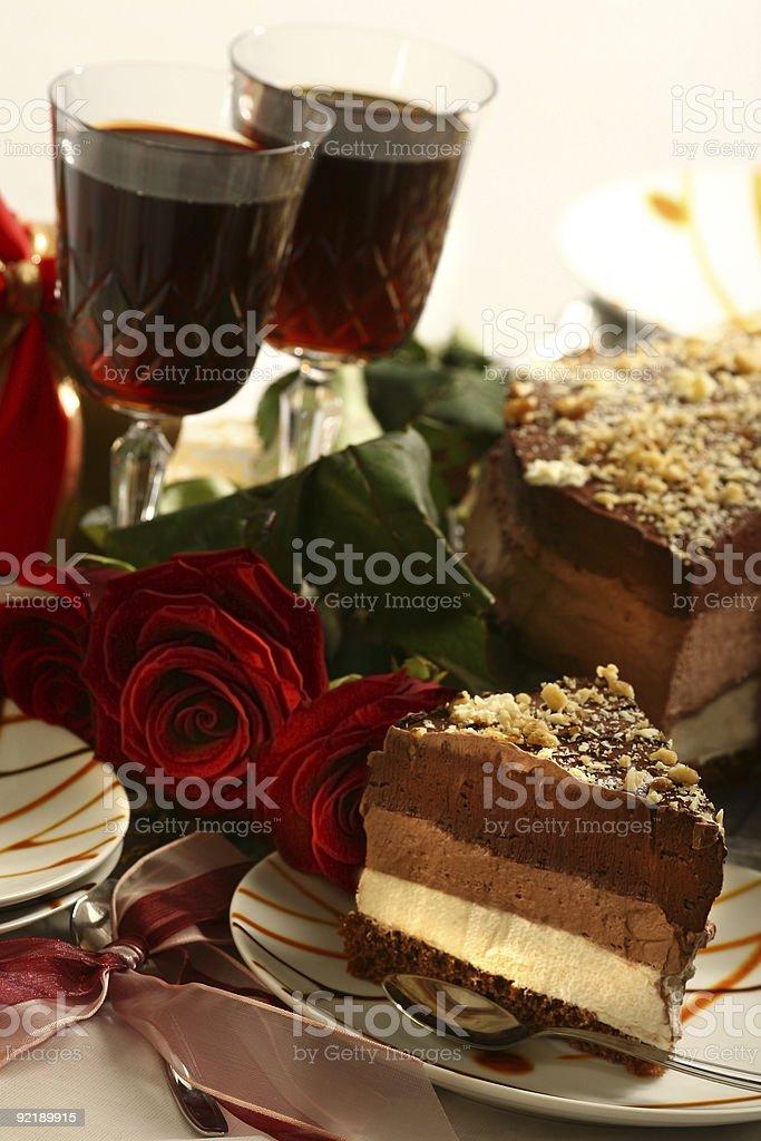 Anniversary chocolate cake slice royalty-free stock photo
