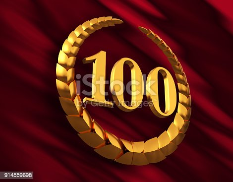 istock Anniversary Golden Laurel Wreath And Numeral 100 On Red Flag 914559698
