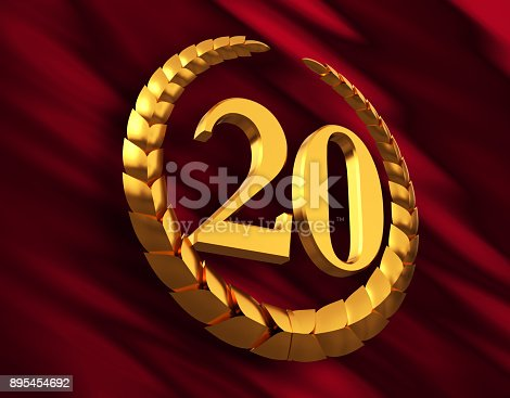 istock Anniversary Golden Laurel Wreath And Numeral 20 On Red Flag 895454692