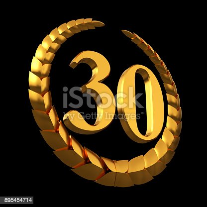 istock Anniversary Golden Laurel Wreath And Numeral 30 On Black Background 895454714