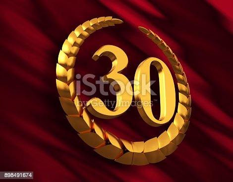 istock Anniversary Golden Laurel Wreath And Numeral 30 On Red Flag 898491674